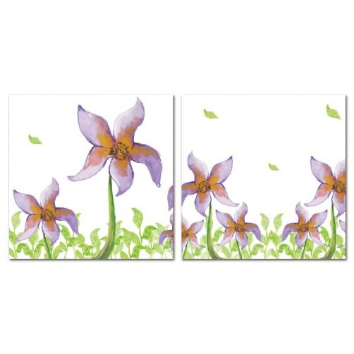 二聯式 方型 無框畫 掛鐘 壁鐘 花店 客廳 民宿 餐廳 飯店 花卉-繽芬花朵30x30cm