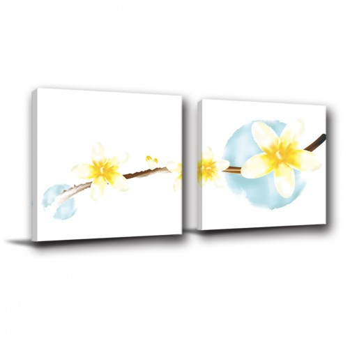 二聯式 方型 無框畫 掛鐘 壁鐘 花店 花卉 客廳 民宿 餐廳 飯店-芬芳高雅30x30cm