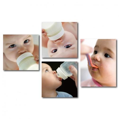 四聯式 方型 嬰兒房 滿月禮 新生兒 月子中心裝飾 哺乳室裝飾 新家落成-愛的結晶30x30cm