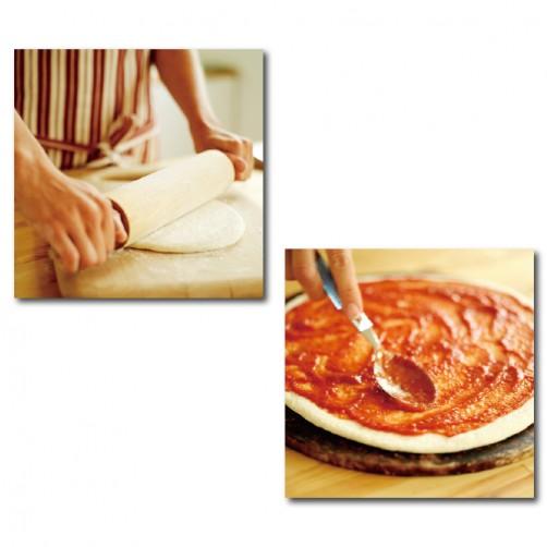 二聯式 方型 披薩 料理 無框畫 掛鐘 客廳 民宿 餐廳 飯店 壁鐘-異國料理30x30cm