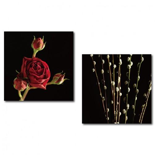 二聯式 方形 花卉 粉色 圖書館 無框畫 掛鐘 壁鐘 客廳 民宿 餐廳 飯店 家居裝飾 花店-玫瑰-30x30cm