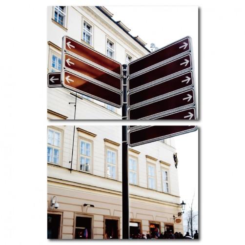 【123點點貼】二聯式 橫幅 壁貼 壁紙 普普風 指標 景色 民宿 咖啡廳 餐廳 家居裝飾 -心的指引40x30cm