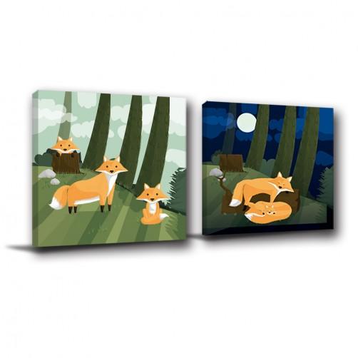 二聯式 方型 動物 小孩房佈置 親子民宿飯店佈置 無框畫 掛畫-狐狸-30x30cm