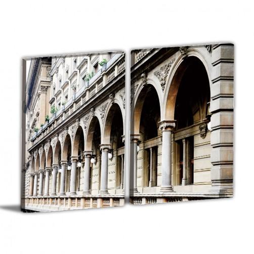 二聯式  直幅 咖啡廳 手繪風 書房 無框畫 掛鐘 壁鐘 客廳 民宿 餐廳 飯店 家居裝飾-異國建築30x40cm