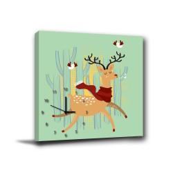 單聯式 方形 動物 童趣 小孩房 書房 圖書館 咖啡廳 家居裝飾 辦公室 無框畫 民宿 -快樂童話30x30cm