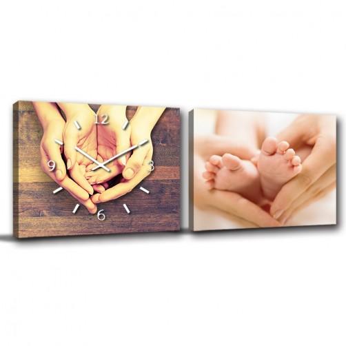 二聯式 橫幅 嬰兒房 滿月禮 新生兒 新家落成 無框畫 掛鐘 子女 親情 -守護40x30cm