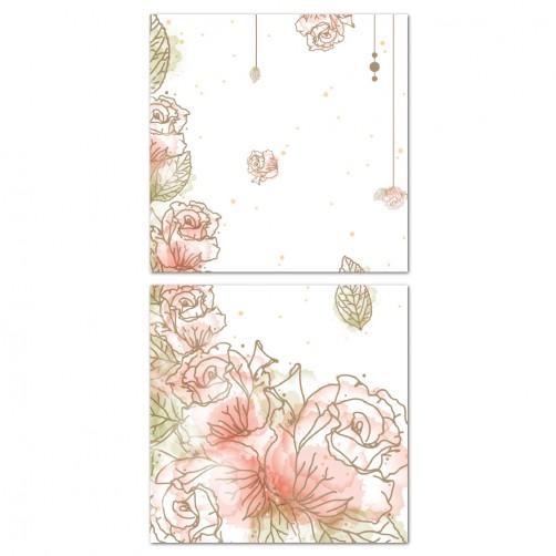 二聯式 方型 無框畫 掛鐘 壁鐘 花店 花卉 客廳 民宿 餐廳 飯店 壁鐘-夢幻花園30x30cm