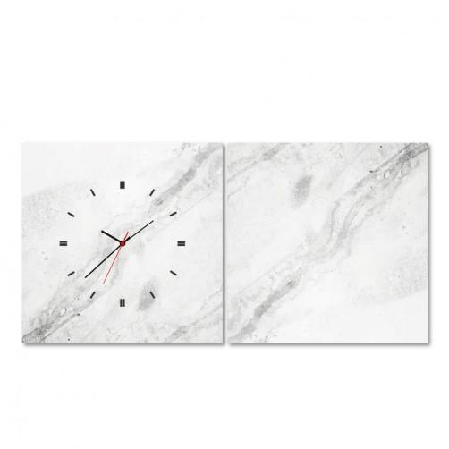 24mama 二聯式時鐘無框畫 餐廳掛畫 30X30cm-大理石紋