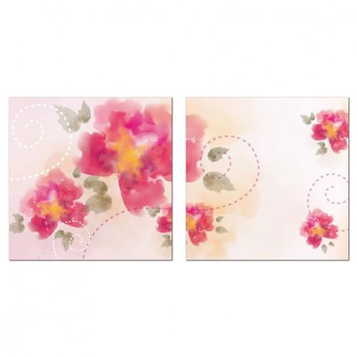 二聯式 方型 無框畫 掛鐘 壁鐘 花店 富貴花開 花卉 客廳 民宿 餐廳 飯店-真誠的祝福30x30cm