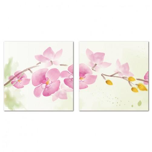 二聯式 方型 無框畫 掛鐘 壁鐘 花店 蘭花 花卉 客廳 民宿 餐廳 飯店 壁鐘-慈愛祝福30x30cm
