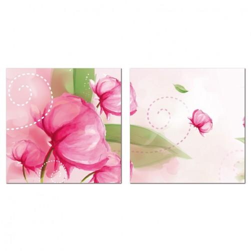 二聯式 方型 無框畫 掛鐘 壁鐘 花店 嬌豔紅花 花卉 客廳 民宿 餐廳 飯店 壁鐘-大方高雅30x30cm