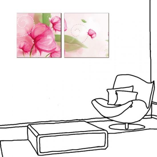 二聯式 方型 掛鐘 壁鐘 嬌豔紅花 花卉 客廳 民宿 餐廳 飯店-大方高雅30x30cm