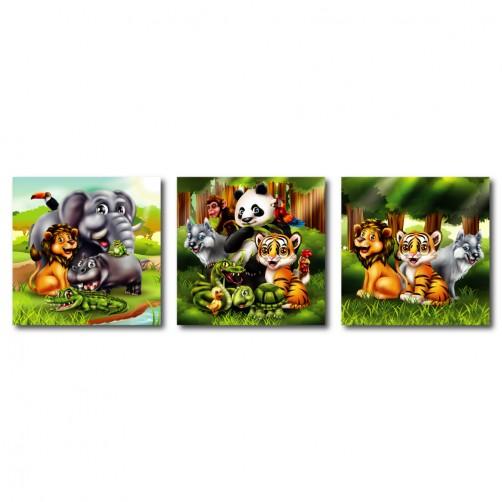 三聯式 方型 動物 小孩房 童趣 圖書館 書房 民宿 壁畫 家居擺設 -動物家庭30x30cm