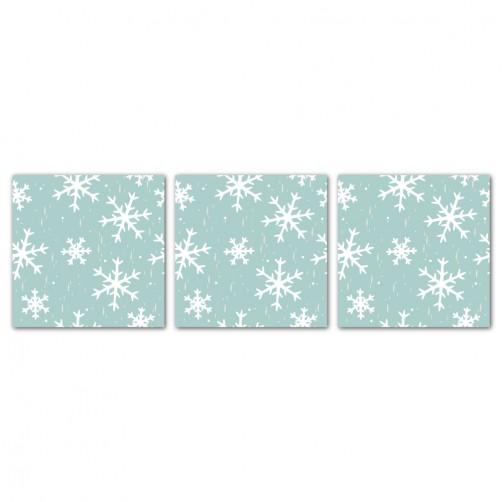 三聯式 方型 聖誕裝飾 餐廳 客廳 圖書館 書房 民宿 壁畫 家居擺設 -雪花紛飛30x30cm