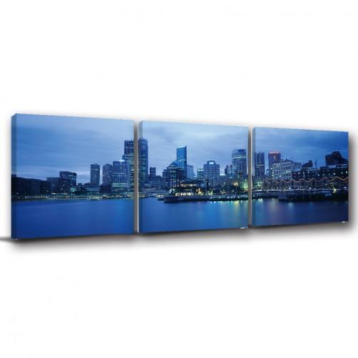 三聯式 方型 建築 夜景 無框畫 掛畫 家居擺設 -夜都市30x30cm