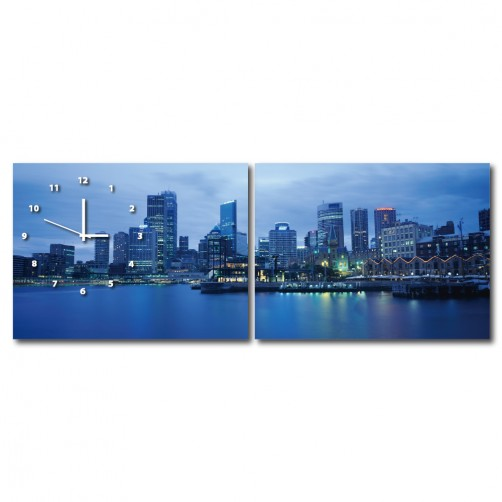 二聯式 橫幅 大海 港口 夜景 景色 咖啡廳 民宿 餐廳 家居裝飾 壁畫 -港灣40x30cm