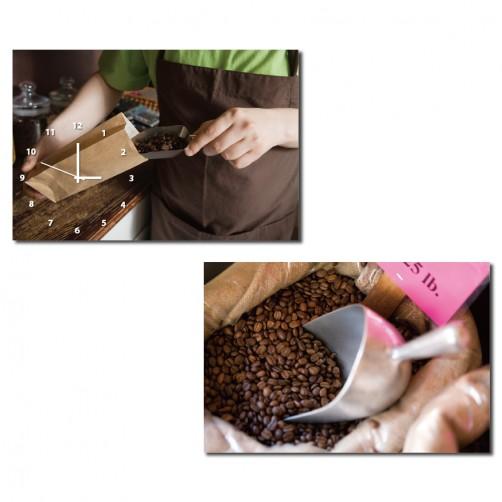 二聯式 橫幅 咖啡 食品 水 餐廳 咖啡廳 廚房 裝飾 輕改造 無框畫 掛畫 掛鐘-咖啡豆60x40cm