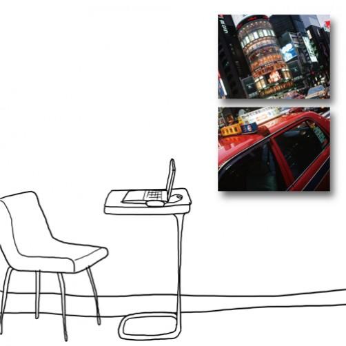 二聯式  橫幅 無框畫 掛鐘 掛畫 客廳 民宿 餐廳 咖啡廳 飯店 家居裝飾 現代風格-摩登都市-40x30cm