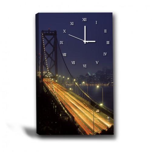 單張 直幅 橋 夜景 無框畫 掛畫 掛鐘 歐式風格 民宿 餐廳 家居裝飾-亮處-40x60cm