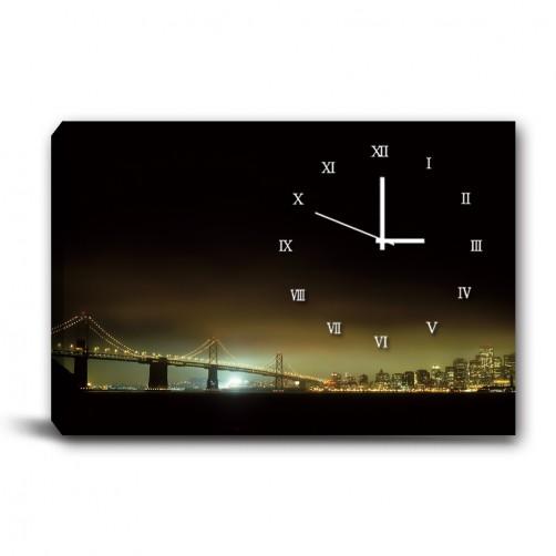 單張 橫幅 夜景 無框畫 掛畫 掛鐘 歐式風格 民宿 餐廳 家居裝飾-夜幕來臨-60x40cm