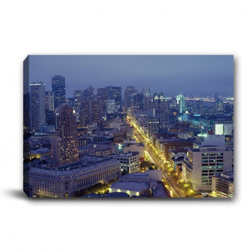 單張 橫幅 都市 夜景 無框畫 掛畫 掛鐘 歐式風格 民宿 餐廳 家居裝飾-燈火通明-60x40cm