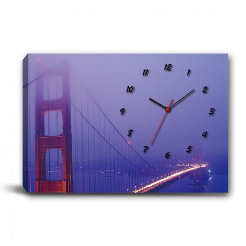 單張 橫幅 夜景 橋 朦朧感 無框畫 掛畫 掛鐘 歐式風格 民宿 餐廳 家居裝飾-霧中的指引-60x40cm