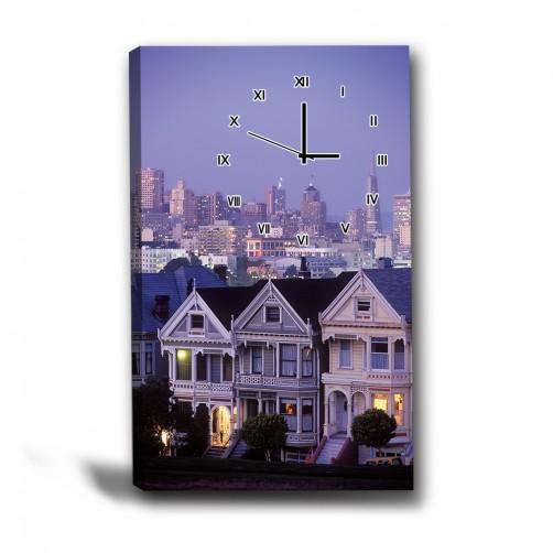 單張 直幅 夜景 無框畫 掛畫 掛鐘 歐式風格 歐式建築 民宿 餐廳 家居裝飾-夜幕來臨-40x60cm