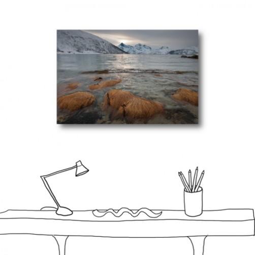 單張 橫幅 冬季 河流 無框畫 掛畫 掛鐘 民宿 餐廳 家居裝飾-冬日的來臨-60x40cm