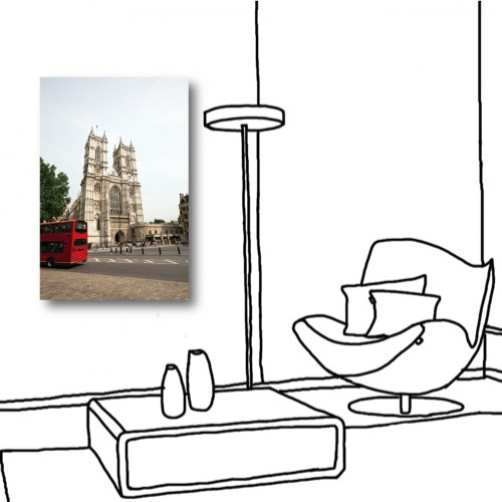 單聯式 直幅 城堡 西式 歐式風格 民宿 餐廳 家居裝飾 無框畫 掛畫 掛鐘-西方美-40x60cm