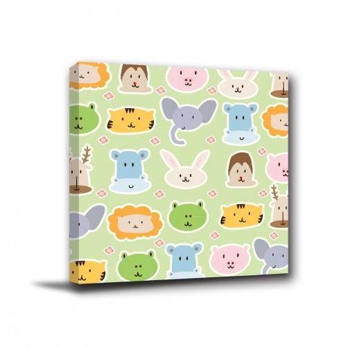 24mama 可愛動物園-單聯式/方型/卡通動物/幼兒園/嬰兒房佈置/滿月禮/送禮30x30cm