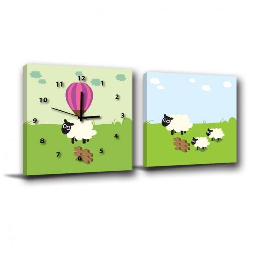 二聯式 方型 動物 羊 家飾品 小孩房裝飾 無框畫 掛鐘 掛畫 客廳 家居裝飾 民宿 -跟著小羊玩耍-30x30cm
