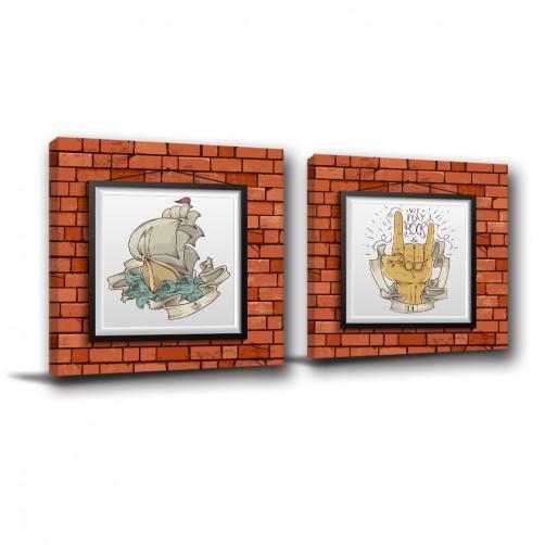 二聯式 方型 畫中畫 現代風格 街頭風格 無框畫 咖啡廳 掛畫 -街頭熱血-30x30cm