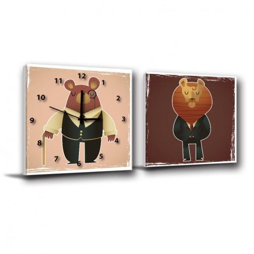 二聯式 方型 動物 小孩房佈置 幼稚園佈置 圖書館 動物卡通 無框畫 掛畫-熊獅先生們-30x30cm