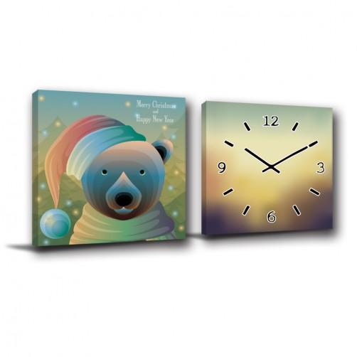 二聯式 方型 動物 熊 聖誕節 童趣 聖誕禮物 家飾品 掛畫 圖書館 書房 民宿 壁畫 家居擺設 -熊熊的聖誕節-30x30cm