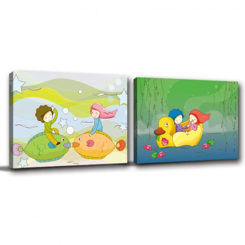 二聯式 橫幅 人物 水彩 小孩房 幼兒園 覆膜防潑水 圖書館裝飾 掛畫 家飾品 無框畫-與你同在-40x30cm