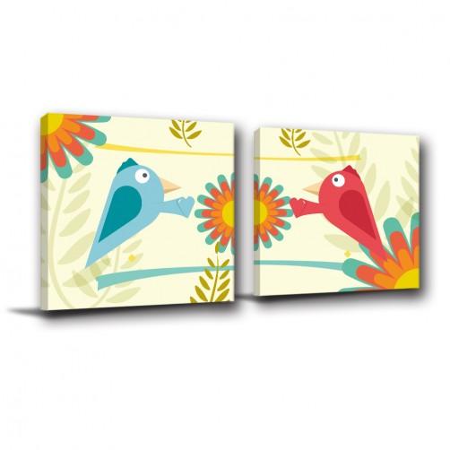 二聯式 方型 動物 鳥 手繪風 小孩房 幼稚園佈置 圖書館 動物卡通 無框畫-動物世界-30x30cm