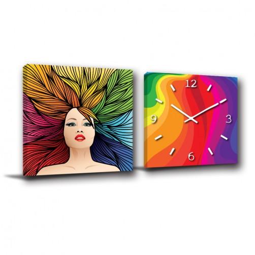 二聯式 方型 美髮店裝飾 染髮 彩虹 繽紛 送禮 無框畫 掛鐘 掛畫 美髮 家居裝飾-秀髮-30x30cm