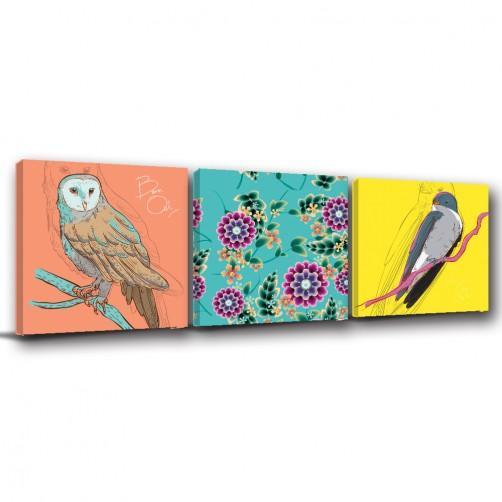 三聯式 方型  動物 鳥 貓頭鷹 燕子 手繪風 無框畫 室內擺設 掛畫 覆膜防潑水 -貓頭鷹與家燕-30x30cm