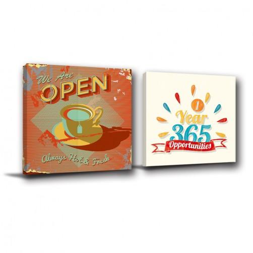 二聯式 方型  餐飲 餐廳 咖啡廳擺設 廚房 無框畫 室內擺設 掛畫 覆膜防潑水 -美食家-30x30cm