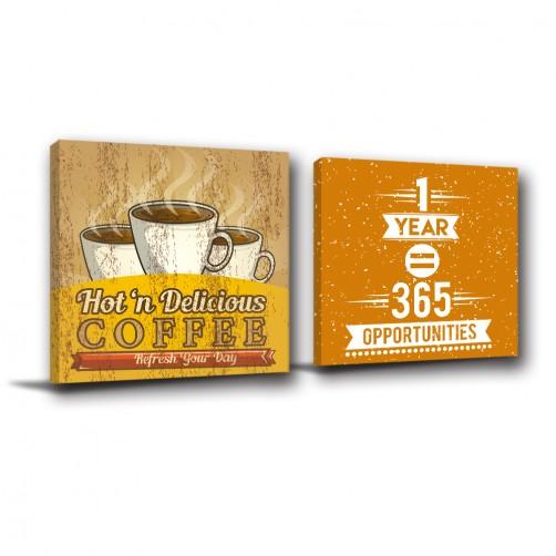 二聯式 方型  餐飲 餐廳 咖啡廳擺設 咖啡 掛畫 覆膜防潑水 廚房 無框畫 室內擺設 -愜意午後-30x30cm