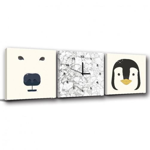 三聯式 方型 動物 北極熊 企鵝 北歐風 簡約風 無框畫 室內裝飾 -極地動物-30x30cm
