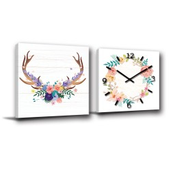 24mama 花與小鹿-二聯式/方型/鹿角/花圈/粉色/掛鐘 /咖啡廳-30x30cm