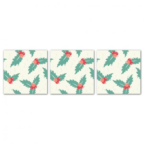 三聯式 方型 聖誕裝飾 餐廳 客廳 圖書館 書房 民宿 壁畫 家居擺設 -聖誕紅30x30cm