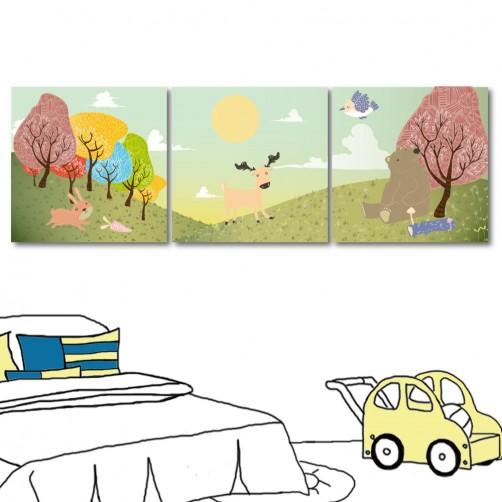 動物掛畫 小孩房裝飾 家居掛畫 三聯式 30x30cm-午覺時間