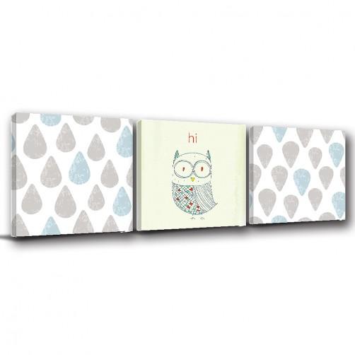 三聯式 方型 動物 貓頭鷹 手繪風 小孩房裝飾 幼兒園 家飾品 室內裝潢 無框畫 掛畫 -貓頭鷹與雨滴-30x30cm