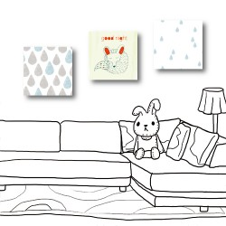 三聯式 方型 動物 狐狸 雨滴 小孩房裝飾 幼兒園-大雨滴與小雨滴-30x30cm
