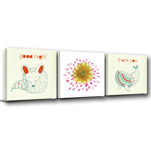 三聯式 方型 動物 狐狸 鯨魚 手繪風 圖書館 幼兒園 家飾品 室內裝潢 無框畫 掛畫 -好眠-30x30cm