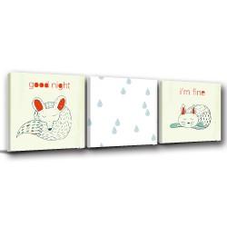 三聯式 方型 動物 狐狸 小貓 手繪風 小孩房裝飾 幼兒園 家飾品 室內裝潢 無框畫 掛畫 -下雨不出門-30x30cm