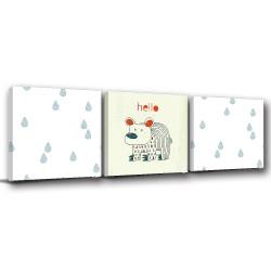 三聯式 方型 動物 手繪風 小孩房裝飾 幼兒園-淋雨的小熊-30x30cm