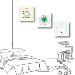 三聯式 方型 動物 熊 手繪風 小孩房裝飾 幼兒園-熊熊相遇-30x30cm